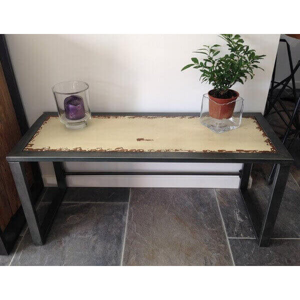 Ivory steel console