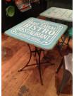 Table carrée Bistro bleue