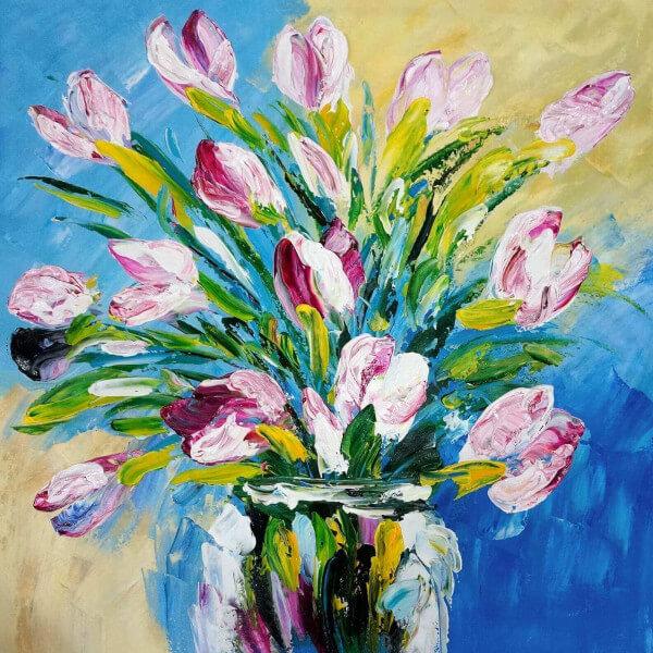 Tableau bouquet rose 4933