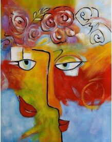 Oil painting Face to face