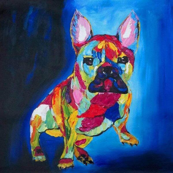 Blue design painting Bulldog