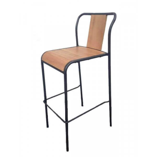 tabouret bar bois hetre acier. Black Bedroom Furniture Sets. Home Design Ideas