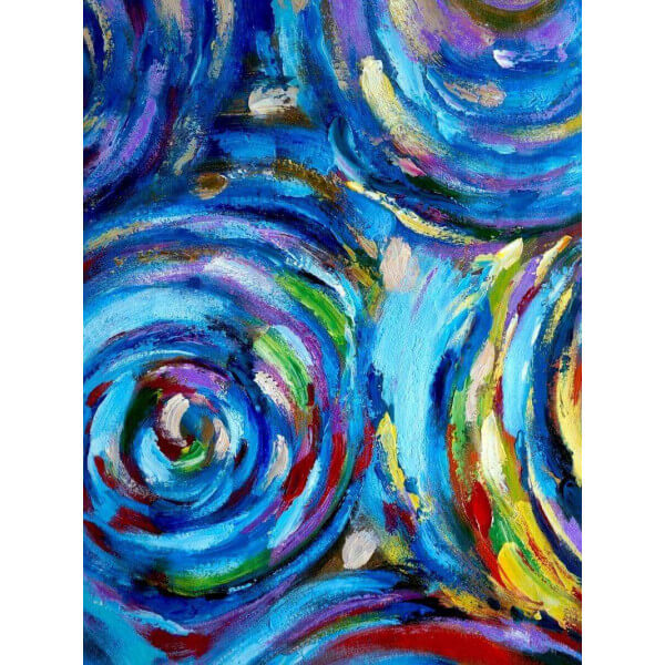 Tableau abstrait Ondes bleues