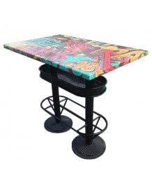 Table haute industrielle 110 Graffiti
