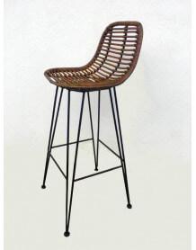 chaise bar rotin marron
