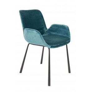Blue velvet arm chair