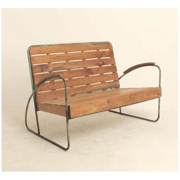 banc vintage bois et metal. Black Bedroom Furniture Sets. Home Design Ideas